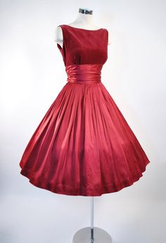 ~1950s JERRY GILDEN RED Wine Velvet Satin Dress~