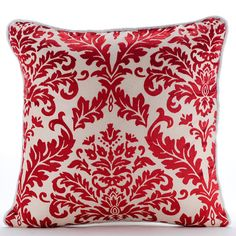 Cayenne Red Damask - Gorgeous burnout velvet damask throw pillow. Take a Look!