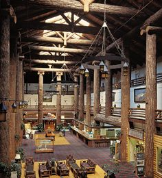 Glacier Park Lodge in Montana, designed by St. Paul Minnesota architect Samuel L. Bartlett and built in 1912, and experience what I would call the first great High Country Parthenon, with its lobby defined by forty 60 feet-tall Douglas fir columns that are 3-feet in diameter (photo courtesy Glacier Park Lodge). Love those Ionic capitals!