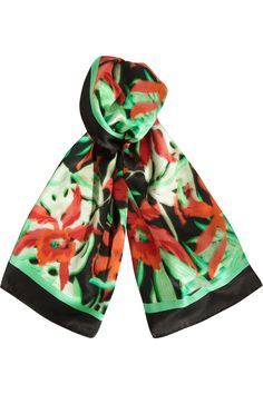 Lanvin|Printed silk-satin scarf |NET-A-PORTER.COM
