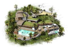 Chic Luxury Resort Planned For The Dominican Republic Bamboo Architecture, Tropical Architecture, Resort Plan, Mexico Resorts, Beach Resorts, Villas, Events Place, Beachfront House, Hill Country Homes