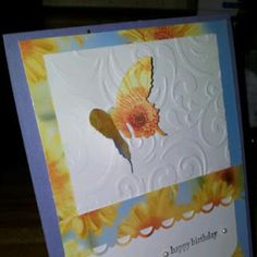 A quick card, recycle calendar, a little embossing, a border punch and a butterfly