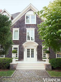 The Southampton house's Shingle Style facade. Interior design by Thomas Pheasant.   - Veranda.com