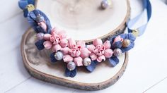 Flower Statement Necklace. Necklace with Pink by imakeflowers