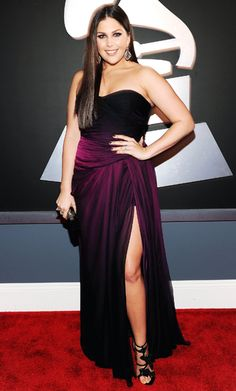 Lady Antebellum's Hillary Scott celebrated the band's Best Country Album nomination in a strapless purple Monique Lhuillier gown.