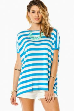 Cozy Short Sleeve Striped Tee in Blue by Piko