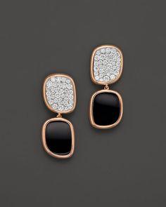 Roberto Coin 18K Rose Gold Black Jade and Diamond Drop Earrings