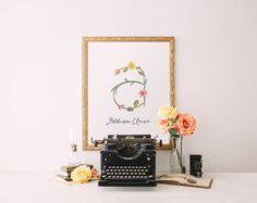 Monogram Art Print Nursery Letter Print Girl, Wall Decor, floral printable flower calligraphy monogram, Initial, digital Printable Wisdom