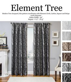 Element Tree Curtain Drapery Panels For Living Room In Either 108 Inch Or 120 Curtains BestWindowTreatment