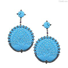 14K Gold Pave Diamond Silver Carved Turquoise Disc Earrings