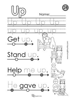 """Beginning Reading 28 – Up – English Unite Beginning reading – Up: Each worksheet focuses on one word, and once that word is learned, it is dotted out on all future worksheets. The focus word of this worksheet is the word """"up"""". English Grammar For Kids, English Worksheets For Kids, English Lessons For Kids, English Reading, Preschool Sight Words, Learning Sight Words, Phonics Words, Sight Word Worksheets, Reading Worksheets"""