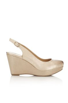 Gold Slingback Wedge Sandal