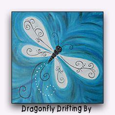 Social Artworking Canvas Painting Design - Dragonfly Drifting By Canvas Painting Designs, Easy Canvas Painting, Canvas Designs, Easy Paintings, Painting For Kids, Diy Painting, Painting & Drawing, Cake Painting, Beginner Painting