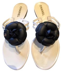 74f44904e Chanel Jelly With Black Camelia With Gold Tone Cc (size 37) White Sandals.