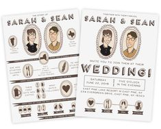 Custom Illustrated Double Sided Wedding by WrittenInDetail on Etsy