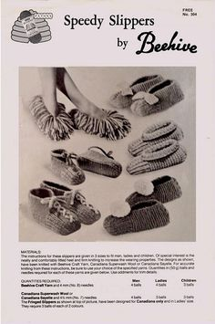 PDF Canadiana SPEEDY Bed Slippers Knitting Pattern Vintage Vintage Patterns, Knitting Patterns, Crochet Patterns, Knitted Slippers, Knitted Hats, Knitting Yarn, Baby Knitting, Retro Christmas, Vintage Knitting
