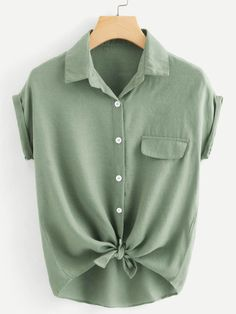 Cheap blouse green, Buy Quality blouses work directly from China blouse long Suppliers: Dotfashion Rolled Cuff Button Knotted Hem Shirt Womens Tops And Blouses Summer Tops For Ladies 2019 Casual Short Sleeve Blouse Style Blogger, Shirt Cuff, How To Roll Sleeves, Plus Size Blouses, Summer Tops, Short Sleeve Blouse, Types Of Sleeves, Ideias Fashion, Fashion Ideas
