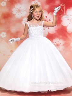 Sleeveless Beaded Illusion Flower Girl Dress by Mary's Bridal Cupids F405