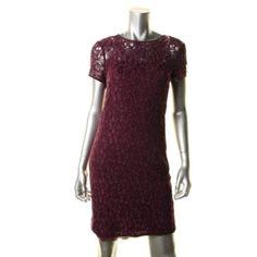 DIANE-VON-FURSTENBERG-NEW-Barbie-Purple-Lace-Short-Sleeves-Cocktail-Dress-8-BHFO
