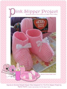 The Pink Slipper Project - Pretty Crochet Slippers for the Pink Slipper Project. Pink Slippers, Knitted Slippers, Crochet Socks, Crochet Gloves, Knitting For Charity, Baby Knitting, Knitting Projects, Crochet Projects, Baby Patterns