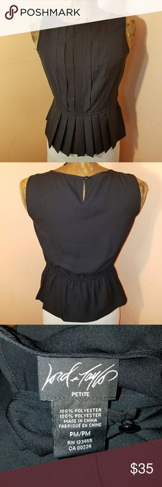 Lord & Taylor blouse Black polyester blouse with pleated details Lord & Taylor Tops Blouses