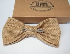 Natural Burlap Wedding Bow Tie / Burlap bow tie by BugAndPepper