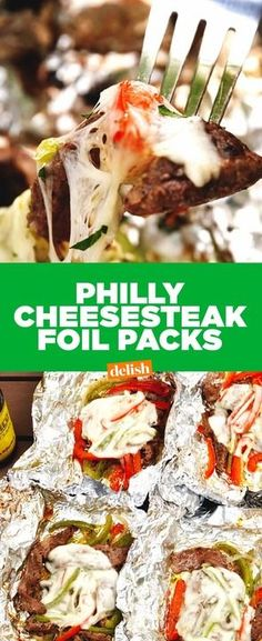 Philly Cheesesteak Foil Packs = your favorite sandwich without the carbs. Get the recipe from Delish.com.