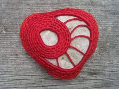 Red Heart Folk Art Ornament - Red Heart Organic Stone Sculpture - Wrapped Stone - Eco Friendly Paperweight Art Object