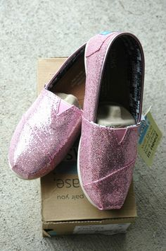 26807bab4901 TOMS Classics Pink Glitter Youth Size 2.5 $45.95-NIB #Toms #CasualShoes
