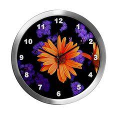 Orange Petals Modern Wall Clock