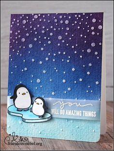 """Karte """"arctic penguins - amazing things"""" mit Mama Elephant und Ranger   © fraeulein-nebel.org"""