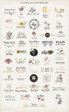 50 Floral Logos by Bloomart on @creativemarket