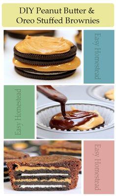 #DIY #Oreo Peanut Butter Brownies #dessert