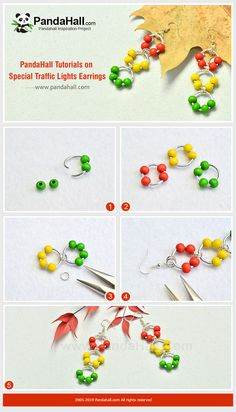 Tutorial on Special Traffic Lights Earrings Jewelry Design Earrings, Bead Jewellery, Diy Earrings, Handmade Beaded Jewelry, Earrings Handmade, Beaded Earrings Patterns, Homemade Jewelry, Bijoux Diy, Jewelry Making Tutorials