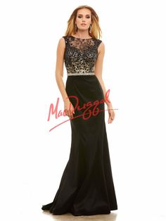 Mac Duggal Black and nude prom dress with fit and flare silhouette and lace/crystal bodice