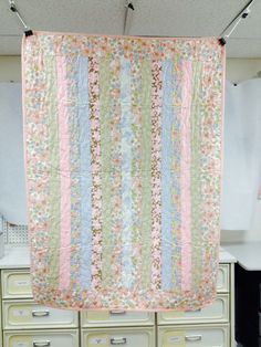 SALE Pastel Strips Pieced Throw Quilt 37 x 51 by CurlUpQuilts
