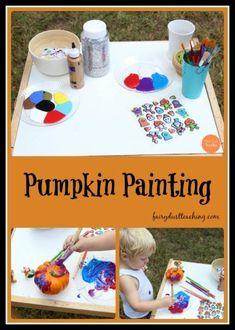 A fun and creative autumn activity! Halloween Crafts For Kids, Fall Halloween, Kid Crafts, Pumpkin Painting, Pumpkin Carving, Autumn Activities, Toddler Activities, Fairy Dust Teaching, Artists For Kids