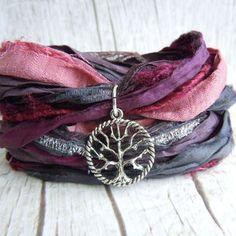 Tree Of Life Bracelet, Bohemian Sari Silk Ribbon Wrap Bracelet, Damson Dusk, Boho Chic, Yoga Bracelet, Gift For Her, Rustic