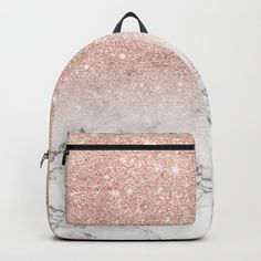 Buy Modern faux rose gold pink glitter ombre white marble Backpack by girlytrend. Pretty Backpacks, Cute Mini Backpacks, Gold Backpacks, Stylish Backpacks, College Backpacks, Rose Gold Pink, Pink Glitter, Marble Backpack, Mode Streetwear