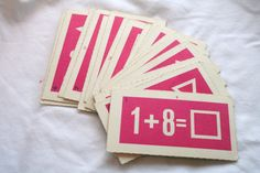 Vintage flash cards already bought for a garland, maybe over the fireplace.