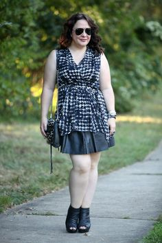 Wardrobe Oxygen: What I Wore: Nice Splash of Paprika featuring @Gwynnie Bee ASOS Curve houndstooth top, black leather pleated skirt, and Rebecca Minkoff leopard print calf hair Mini M.A.C.