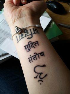 My tattoos  (from the bottom) Ahimsa- Non-Violence Mudita- Joyfullness Santosha- Contentment Uji- Yoga/Union  ♥♥♥♥♥