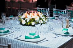 Turquoise / teal wedding decor for tables