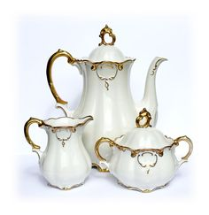 Vintage Tea Set Cream Set Vintage German Porcelain Bavarian China Coffee Pot and Creamer Set 1930s Antique Teapot Set