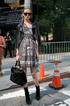 Anna Sui dress, vintage leather jacket, Prada shoes, Fendi bag, The Local Firm sunglasses