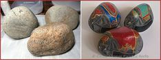 Painting Rock & Stone Animals, Nativity Sets & More: Before & After Painted Rocks: Adorned Elephants Painted Rocks Craft, Hand Painted Rocks, Nativity Sets, Rock Crafts, Elephants, Riding Helmets, Stone, Creative, Painting