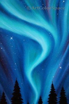 Original Aurora Boreal pintura noche cielo pared arte Galaxy