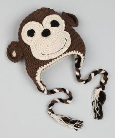Love this Brown Monkey Earflap Beanie by Crossroad on Love Crochet, Crochet For Kids, Crochet Toys, Crochet Baby, Knit Crochet, Crochet Children, Crocheted Hats, Earflap Beanie, Silly Hats