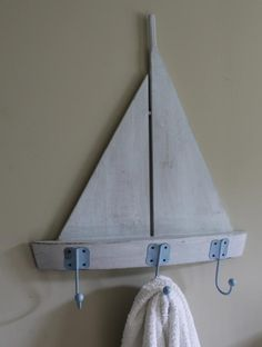 Blue coastal boat hooks shabby distressed chic bathroom hallway kitchen