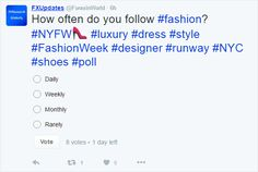 Poll at https://twitter.com/forexinworld - How often do you follow fashion? Go to Twitter to vote on your preferences.  Luxury, Retail and Online Sales, Forex, Economies & Beyond    Check store.fxglobally.com   Read our unique publication with various interesting topics across issues. From luxury products, exotic places, travel, shopping, chocolate, economies, money and much much more. You need to read it to see it #NYFW #luxury #dress #style #FashionWeek #designer #runway #NYC #shoes #poll